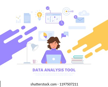 Businessman or programmer working at laptop showing data. Data analysis, information searching, data center query, search engine optimization, concept site position result. Vector flat illustration