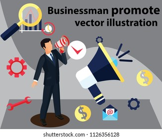 businessman promote your business with object and action . vector illustration
