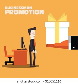 Businessman promotion. Boss giving a reward for employee. Bonus, gift, appreciation and promotion concept. Anniversary concept. Modern vector design flat style
