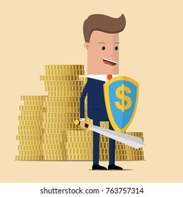 Businessman protecting gold coins with shield and sword. protect money from tax and debt with sword and shield. Business concept. Vector illustration