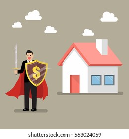 Businessman protecting house with shield and sword. Business concept