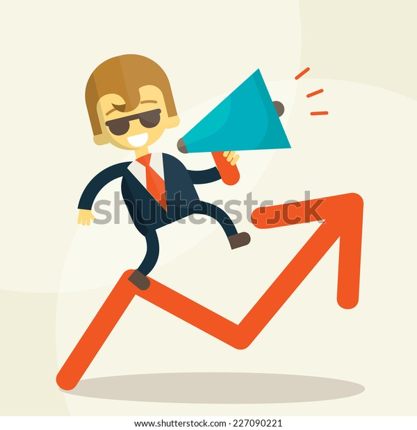 businessman  public speaking on a megaphone  and his career taking vector illustration eps 10