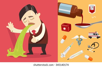 Businessman puke. Vector flat illustration