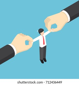 Businessman pulled by two big hand. Fight for talented employees. business competition and human resource concept.