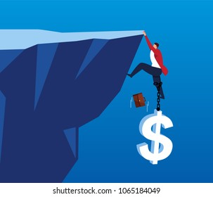 Businessman is pulled down cliff by huge dollar