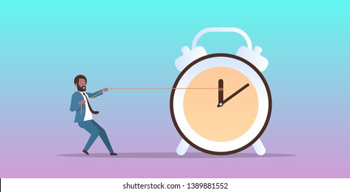 businessman pulling clock arrow deadline time management concept african american business man in suit pushing back hour hand horizontal flat male character full length