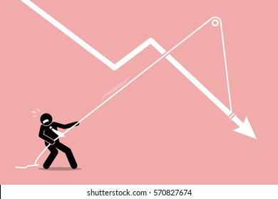 Businessman pulling a falling arrow graph chart from further dropping down. Vector artwork depicts economy crisis, downturn, financial pressure, and burden.