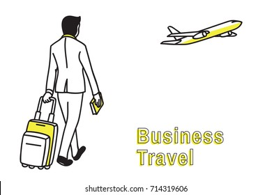Businessman pulling trolley suitcase, walking at airport in concept of business travel concept. Outline, thin line art, linear, doodle, cartoon, hand drawn sketch design, simple style.