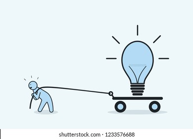Businessman pulls light bulb on cart. The concept of perseverance and promotion of idea. Vector illustration.