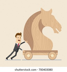 Businessman push a big wooden  trojan horse . Business and finance concept. Vector, Illustration, Flat
