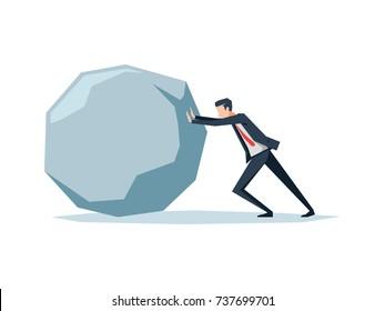 the businessman pushing a big boulder
