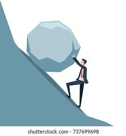 the businessman pushing a big boulder to the top