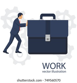 Businessman pushing big briefcas as symbol of hard work. Isolated on white background. Vector illustration flat design. Office manager in suit. Confident man. Hard way.