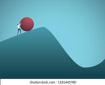Businessman pushing boulder uphill vector concept of Sisyphus. Symbol of hard work, futile effort, strength, struggle, challenge but also motivation and ambition. Eps10 vector illustration.