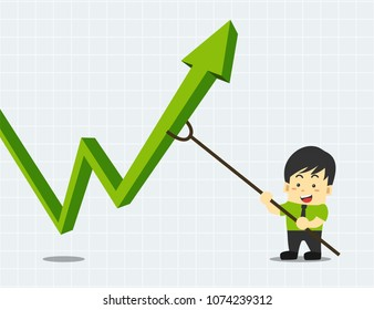 Businessman is pushing the green stock graph up with a stick. character and arrow. financial concept flat design vector illustration.