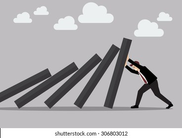 Businessman pushing hard against falling deck of domino tiles. Business Concept