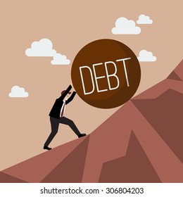 Businessman pushing heavy debt uphill. Business concept