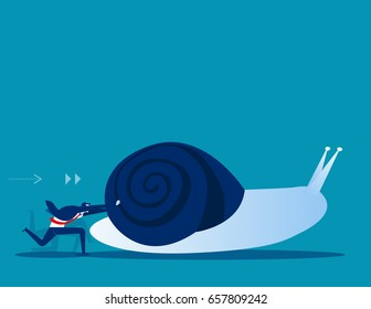 Businessman pushing snail. Concept business vector illustration.