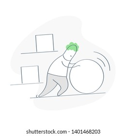 Businessman pushing sphere and it's easy for him against other square pushing boxes. Concept of innovation in business, winning strategy, solution, smart work, process optimization. Flat line vector