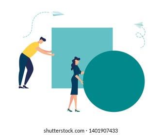 Businessman pushing sphere and leading the race against group other not so lucky guy pushing boxes. Concept of innovation in business, winning strategy, efficiency. Vector - Vector