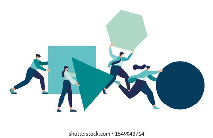 Businessman pushing sphere and leading the race against group other not so lucky guy pushing boxes. Concept of innovation in business, winning strategy,  vector