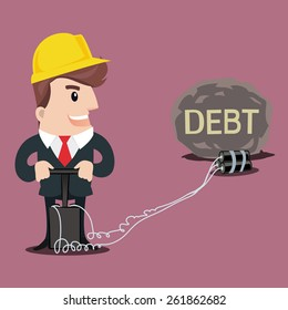 Businessman put a bomb to explode the heavy DEBT.-vector illustration.