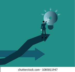 Businessman Put the missing puzzle pieces to solve the problem. question mark become a light bulb. The concept using the problem solving process to accomplish the goal.Change of a direction