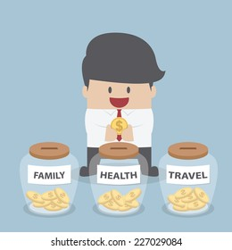 Businessman putting coin into Family, Health, Travel bottle, Financial concept, VECTOR, EPS10