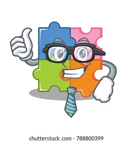 Businessman puzzle character cartoon style