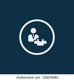Businessman puzzle vector icon