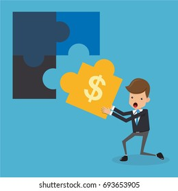 Businessman and Puzzles. Business and Finance Concept, Vector Illustration Flat Style.