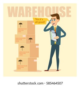 Businessman or quality expert stand near the boxes in the warehouse