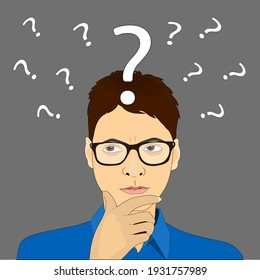 Businessman with question mark over his head,Vector
