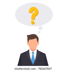 Businessman with question mark thinking bubble cartoon vector illustration