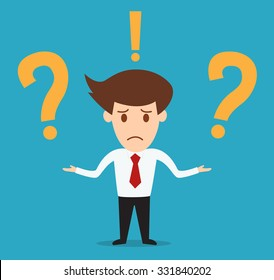 businessman with question marks vector