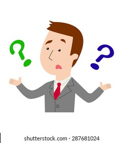 A businessman with questions, complaints and concerns, vector illustration