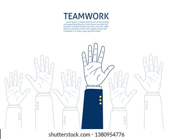 Businessman raised up hands. team work concept. hand drawn style vector doodle design illustrations. - Vector