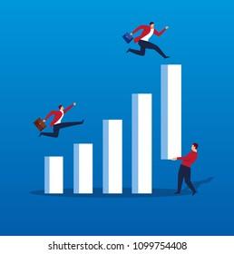 Businessman raises bar chart to make fellow jump higher