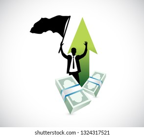 businessman raises hands over a pile of cash. illustration design isolated over a white background.