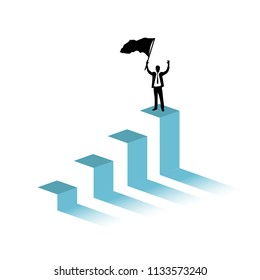 Businessman raising a flag on top of business graph.victory concept. hitting the target. illustration design graphic isolated over white