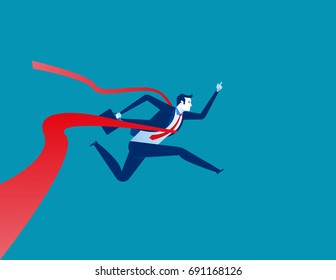 Businessman reaching the finish line. Concept business vector illustration.