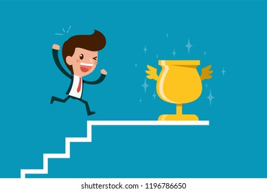 Businessman reaching goal.