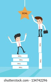Businessman reaching goal