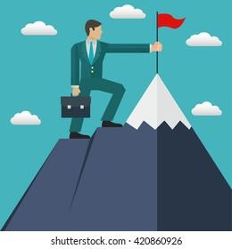 Businessman reaching his goal, top of the mountain, success vector concept