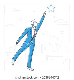 Businessman reaching out the star - line design style isolated illustration on white background. Metaphorical image of a man trying to touch the sky, pursuing his goal