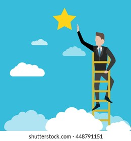 Businessman reaching to the star, metaphor to reaching to goal or be successful. Business concept a ladder corporate of success. Vector illustration.