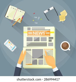 Businessman Read Newspaper, Hands Hold News Paper Desk Office Flat Vector Illustration