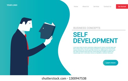 Businessman reading a book with his head. Business concepts. - Vector