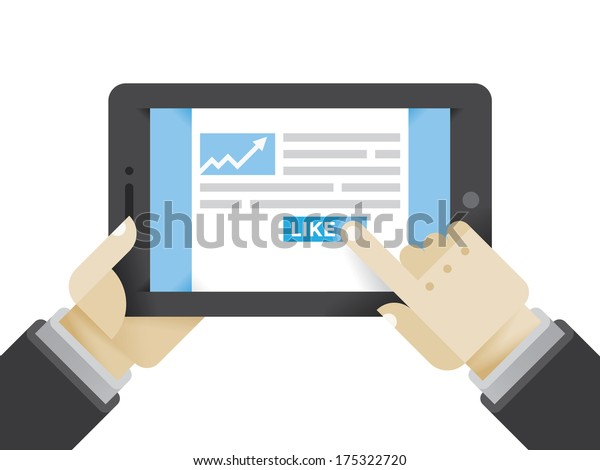 Businessman reading business article and clicking on Like button. Idea - Social networks in modern business, Internet business education, New technologies in business.
