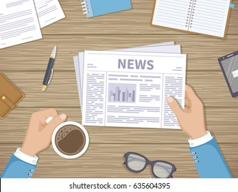 Businessman reading daily news in the workplace over a cup of coffee. Hands with newspaper, wooden table, documents, purse, glasses, phone, notepad. Coffee break. Vector illustration. View from above